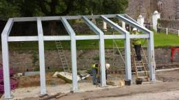 Structural steelwork for new shelter at Kilmun Mausoleum.